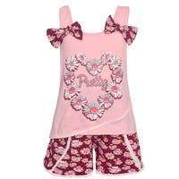 Real Love Little Girls Pink Pretty Flower Garland 2 Pc Shorts Outfit
