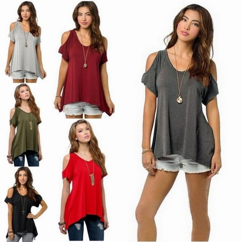 Womens Strapless Irregular T-Shirts Summer Top +Necklace