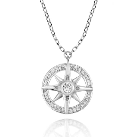 Handmade Traveler Compass Sterling Silver and Cubic Zirconia Pendant Necklace (Thailand)