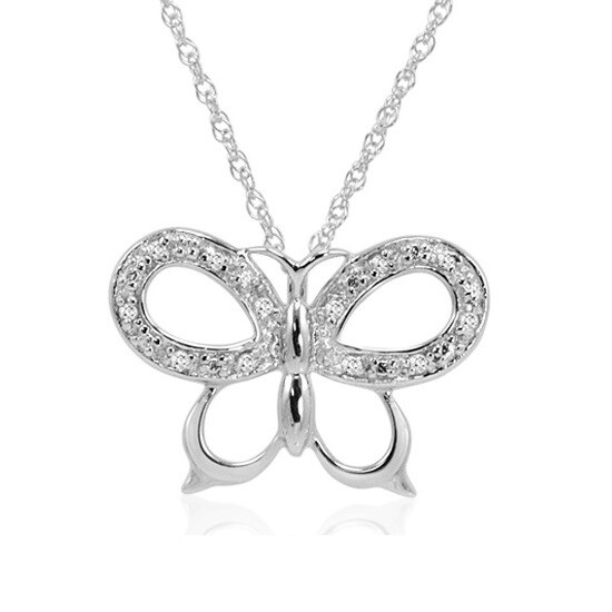 Amanda Rose 1/10ct TW Diamond Butterfly Pendant-Necklace in Sterling Silver
