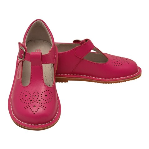L'Amour Little Girls Fuchsia T-Strap Perforated Leather Shoes