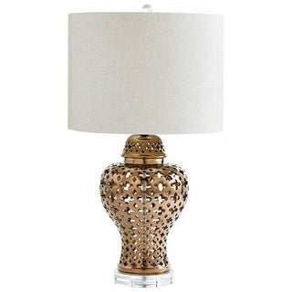 Cyan Design Casablanca Table Lamp Casablanca 1 Light Accent Table Lamp with White Shade - Bronze