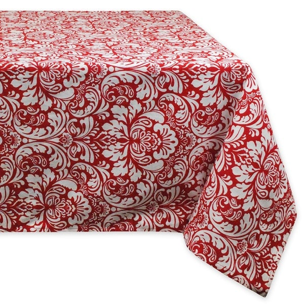 """60"""" x 104"""" Tango Red and Snow White Floral Damask Table Cloth - N/A"""
