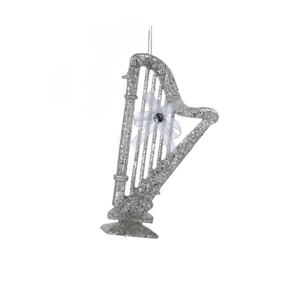 """5"""" Silver Glittered Concert Harp with White Bow Musical Instrument Christmas Ornament"""