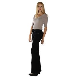 Lola Cynthia-BLK, Mid Rise Flare Jeans With 4-Way Stretch Technology
