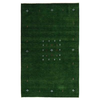 ECARPETGALLERY Hand Loomed Gabbeh Luribaft Green Wool Rug - 5'0 x 7'10