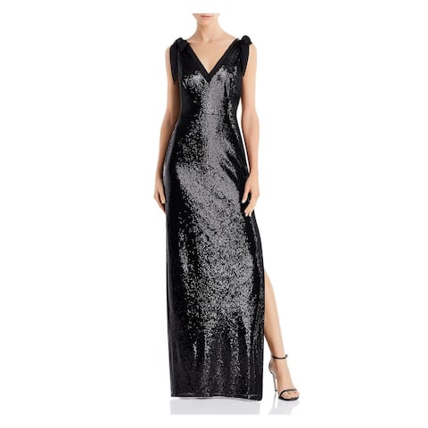 AIDAN MATTOX Black Spaghetti Strap Full-Length Dress 2
