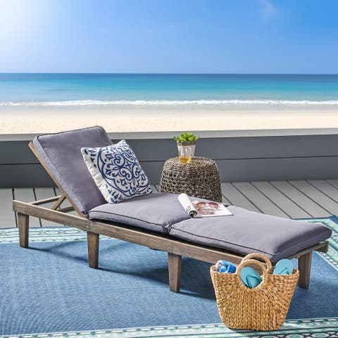 Ariana Acacia Wood Outdoor Chaise Lounge with Cushion by Christopher Knight Home