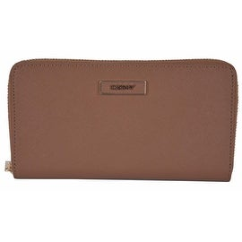 New DKNY Donna Karan Walnut Brown Saffiano Leather Zip Around Wallet Clutch