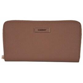 DKNY Donna Karan Walnut Brown Saffiano Leather Zip Around Wallet Clutch