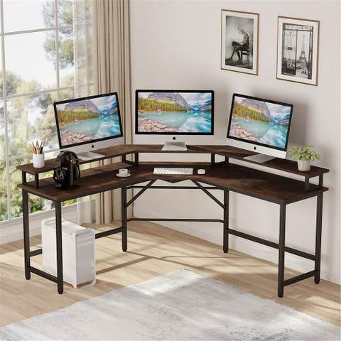 L Shaped Corner Computer Desk With Monitor Stand Riser
