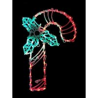 "18"" LED Lighted Candy Cane Christmas Window Silhouette Decoration - green"