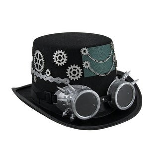 Steampunk Top Hat with Metallic Silver Gears & Removable Goggles