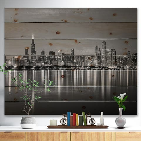 Designart 'Chicago Skyline at Night Black and White' Cityscape Print on Natural Pine Wood - Blue