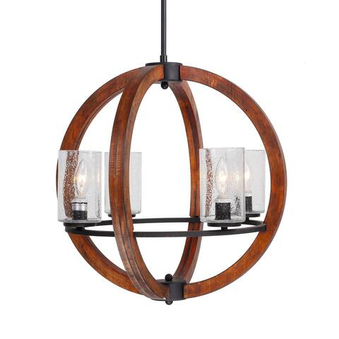 Vintage 4-light Orb Wood Chandelier with Glass Shade