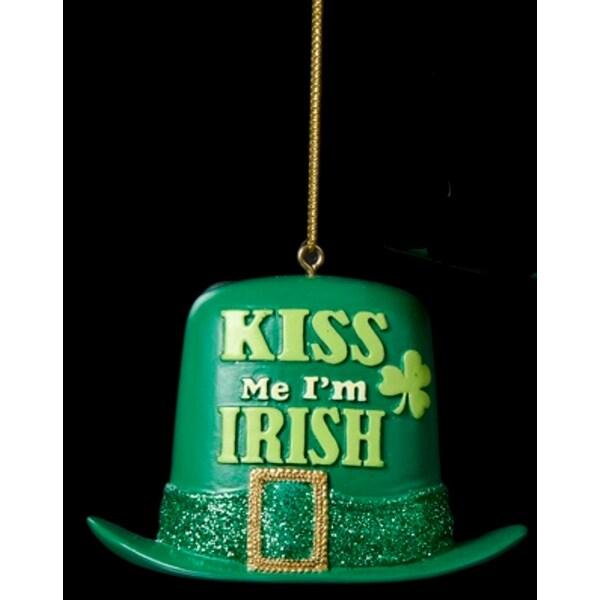 "3"" Luck of the Irish Glittered Green Top Hat ""Kiss Me I'm Irish"" Christmas Ornament"