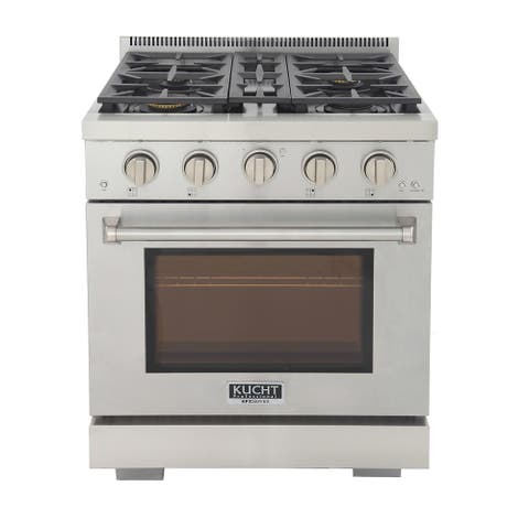 KUCHT Professional 30 in. 4.2 cu. ft. Propane Gas Range with Sealed Burners and Convection Oven in Stainless Steel