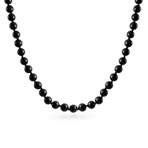 Simple Black Strand Imitation Pearl Long Wrap Necklace For Women 925 Sterling Silver Clasp 18 20 inch