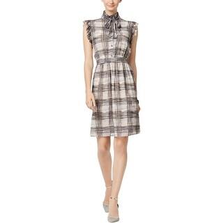 Anne Klein Womens Casual Dress Mock-Neck Plaid