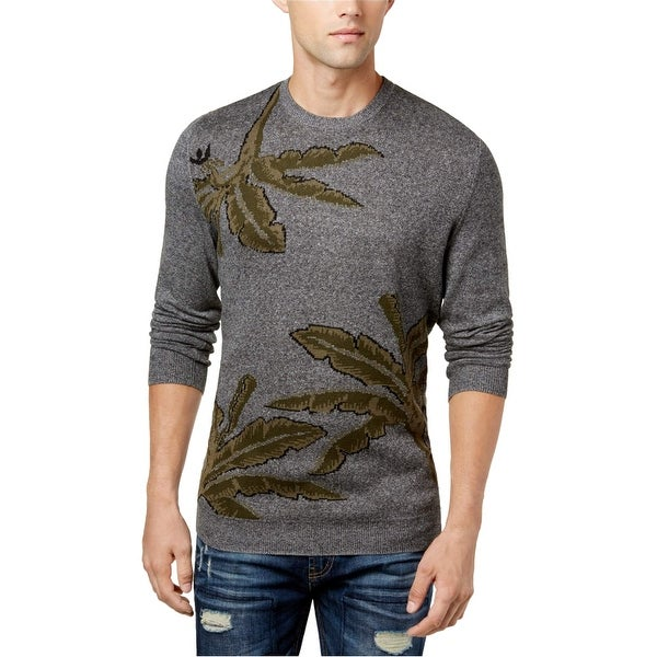 Shop American Rag Green Mens Leaf Knit Crewneck Sweater - Free Shipping On Orders Over $45 - Overstock.com - 26903946