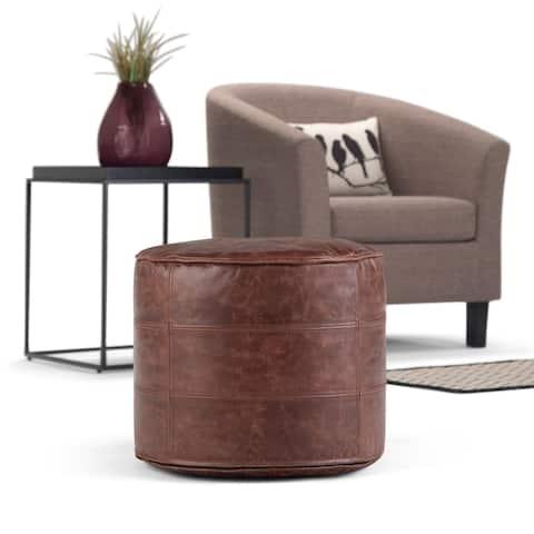 WYNDENHALL Darian Transitional Round Pouf in Genuine Leather