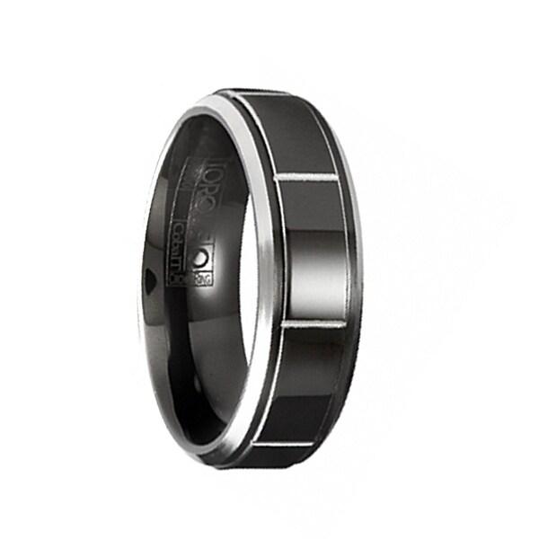 NARUKAMI Torque Black Cobalt Polished Wedding Band Block Center Design Beveled Edges by Crown Ring - 7 mm