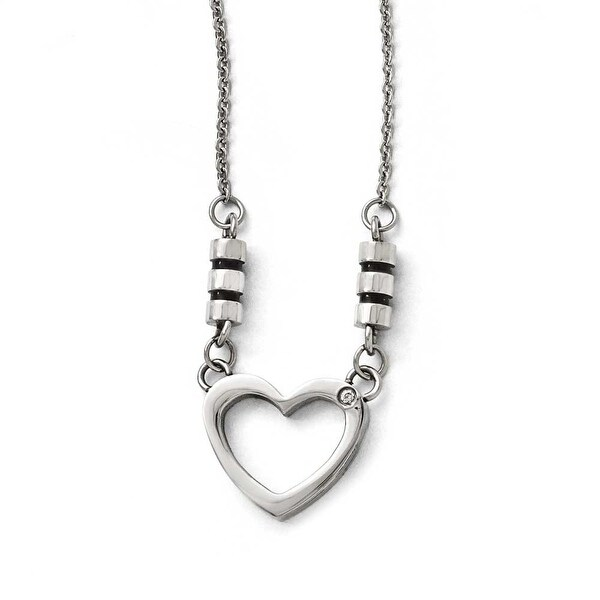 Chisel Stainless Steel Polished Black Enamel CZ Heart Necklace - 19.25 in