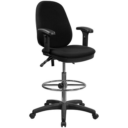 Offex Ergonomic Multi-Functional Triple Paddle Drafting Stool with Adjustable Foot Ring and Arms [OF-KC-B802M1KG-ARMS-GG]