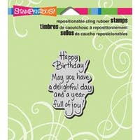 """Delightful Birthday - Stampendous Cling Rubber Stamp 3.5""""X4"""" Sheet"""