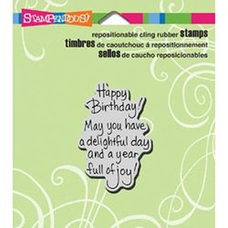 "Delightful Birthday - Stampendous Cling Rubber Stamp 3.5""X4"" Sheet"