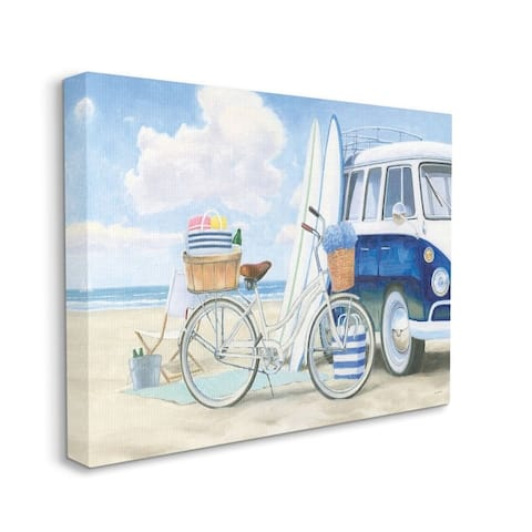 Stupell Industries Bike and Van Beach Nautical Blue White Painting Canvas Wall Art
