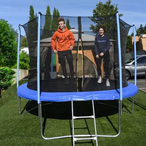 ALEKO Trampoline 8 feet With Safety Net and Ladder Black and Blue - 8 x 8 x 7 feet
