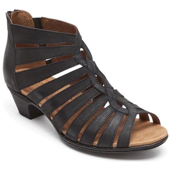 Rockport Women's Cobb Hill Abbott Gladiator Sandal Black Leather
