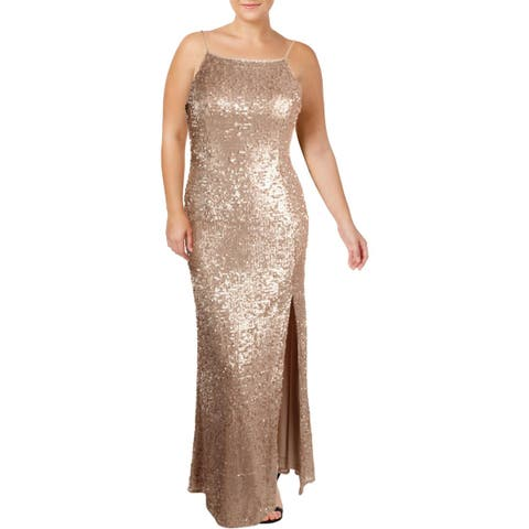 Adrianna Papell Womens Formal Dress Halter Sequined
