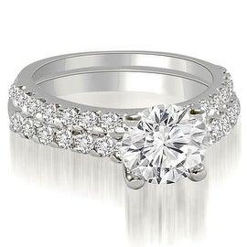 1.10 cttw. 14K White Gold Cathedral Round Cut Diamond Bridal Set