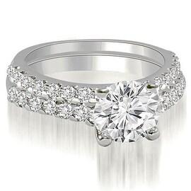 1.35 cttw. 14K White Gold Cathedral Round Cut Diamond Bridal Set