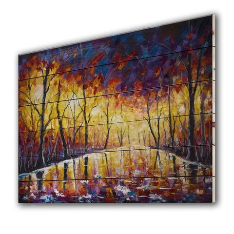 Designart 'Romantic Sunset Through Trees In Park I' Traditional Print on Natural Pine Wood