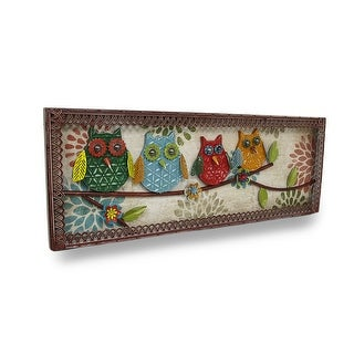 Colorful Perched Owls Decorative Metal Wall Sculpture Panel