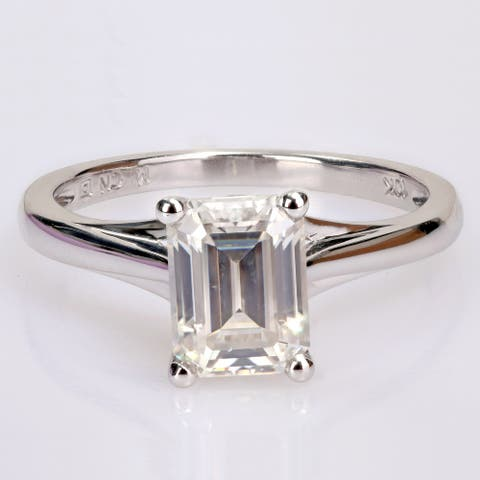 Miadora 1 3/4ct DEW Octagon-cut Moissanite Solitaire Engagement Ring in 10k White Gold