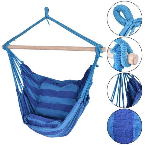 Costway Hammock Rope Chair Patio Porch Yard Tree Hanging Air Swing Outdoor (Blue)