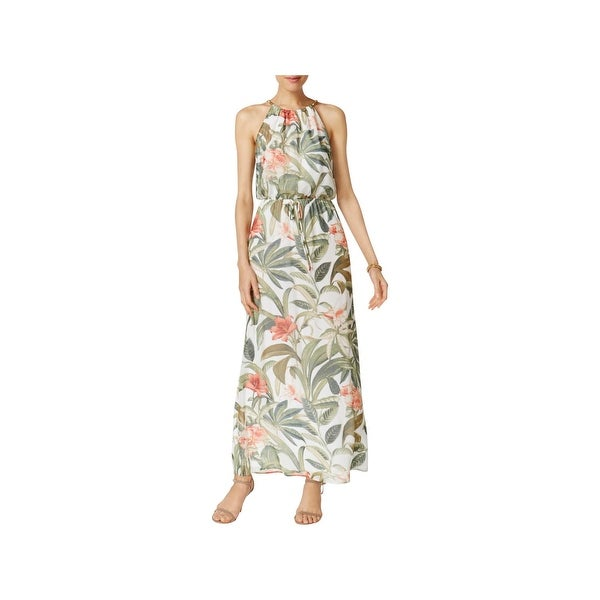 Connected Apparel Womens Maxi Dress Floral Print Blouson