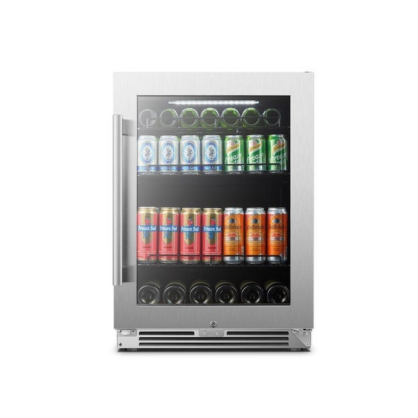 """LanboPro 24"""" Stainless Steel Beverage Refrigerator 118 Can. Opens flyout."""