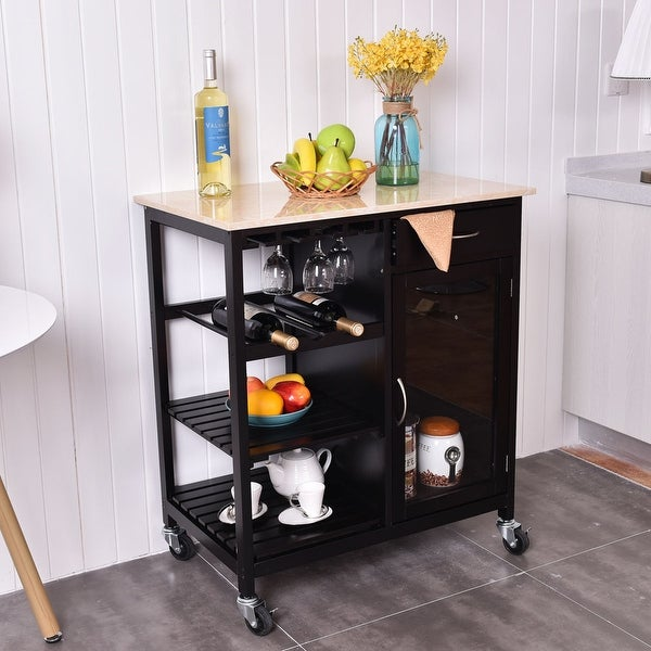 storage cart utility trolley modern cabinet rolling rakuten wood island costway shop top product kitchen