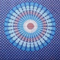 Handmade Sanganer Mandala Peacock 100% Cotton Tapestry Tablecloth Bedspread in Red Blue & Green colors in Twin & Full sizes - Thumbnail 7