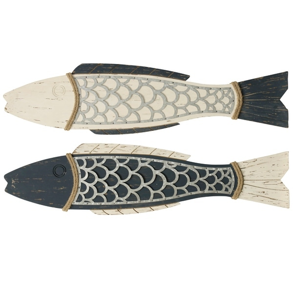 """StyleCraft SC-WI52243 11"""" x 44"""" - """"Couple Fish"""" Rope and Wood Animals Wall Sculptures - Set of (2)"""
