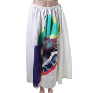 Isa Arfen Womens Printed Stretch Maxi Skirt - 8