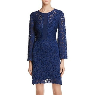 Laundry by Shelli Segal Womens Cocktail Dress Lace Bell Sleeves