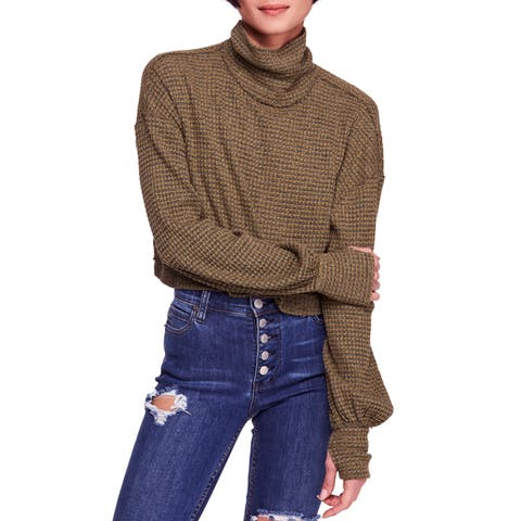 Free People Green Womens Size Large L Cropped Turtleneck Sweater