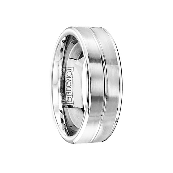 Men's Comfort-Fit Cobalt Wedding Ring Brushed Finish with Polished Accents by Crown Ring - 7mm