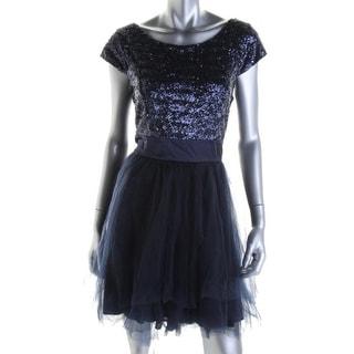 Trixxi Womens Juniors Sequined Tulle Semi-Formal Dress